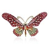GOMYIE Schmuck Accessoires Schmetterlingsbroschen Für Frauen Insektenstifte Und Broschen Kristallbroschen (rot)