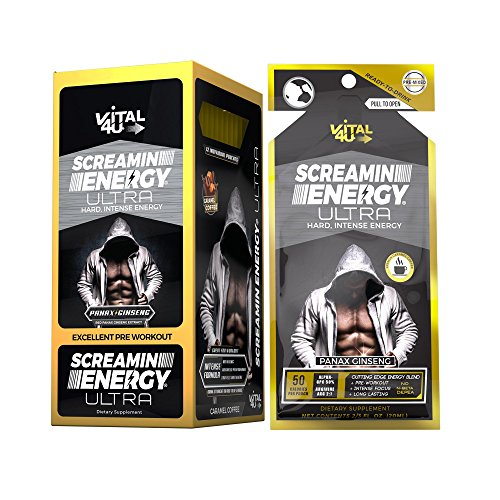 Screamin Energy Ultra, Pre-Workout Energy Shot with Caffeine, L-Arginine AKG, Alpha GPC, and Ginseng, French Roast Caramel Coffee Flavor, 24 Count