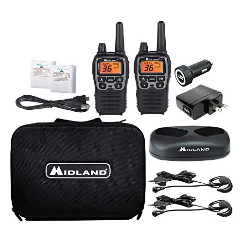 Midland - X-TALKER T77VP5, 36 Channel FRS Two-Way Radio - Up to 38 Mile Range Walkie Talkie, 121 Privacy Codes, and NOAA Weather Scan + Alert (Includes a Carrying Case and Headsets) (Black/Silver). Buy it now for 99.98