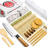 Sushi Making Kit - All In One Set with Bazooka, Sushi Knife, Natural Bamboo Mats, Paddle, Spreader, Chopsticks, Holders, Bag, Saucers - Make Your Own Homemade Easy DIY Sushi Maker Roller Machine