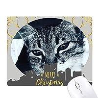 動物のクールなグレーの猫写真 クリスマスイブのゴムマウスパッド
