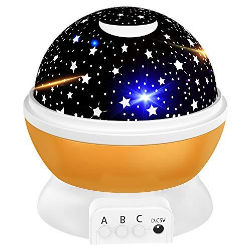 Tesoky Led Nachtlicht Baby, Kinder Geschenke mädchen 2-12 Jahre, Jungen Spielzeug 5 5 6 7 8 Jahre, Sternenhimmel projektor Lampe kinderspielzeug 2-12 Jahre, Geburtstaggeschenke (Orange)