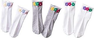 calcetín, calcetín de Hombre Tres Pares Verano de Mujeres Delgado Flor Medias Linda de Mitad de Tubo Juego Zapatos de Lona Mujer (Color : B)