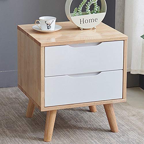 GRTBNH Solid Wood Nightstand, Home Bedside Table with 2 Storage Drawers and 4 Legs, Non-Slip Foot Pad Design, for Modern Bedroom Furniture,Wood+White
