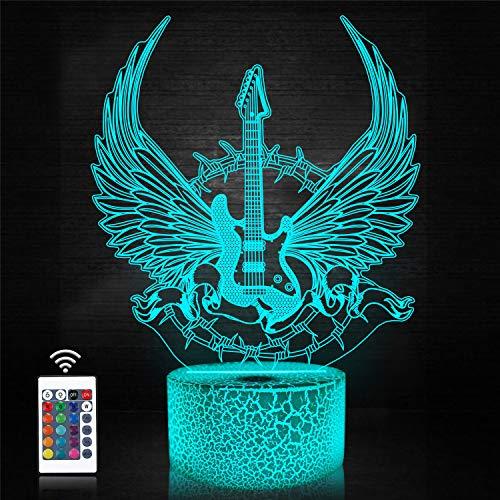CooPark 3D Gitarre Nachtlicht Gitarrengeschenke für Musikliebhaber,3D Gitarre Illusion lampe mit Fernbedienung und 16 Farben, die erstaunliche Ideenwahl für Musikinstrumenten Shop ändern Zuhause