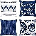 "Set of 4 TOMTU 18"" x 18"" Blue Throw Pillow Covers"