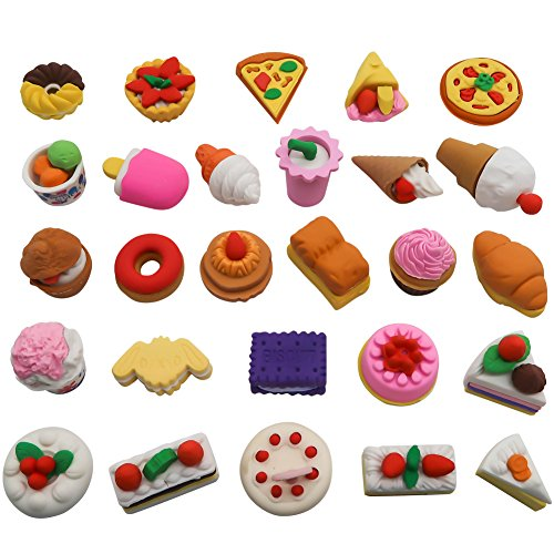 TOAOB 25pcs Pencil Erasers Assorted Food Cake Dessert Puzzle Toys Erasers for Party Favors Games Prizes Carnivals and School Classroom Rewards