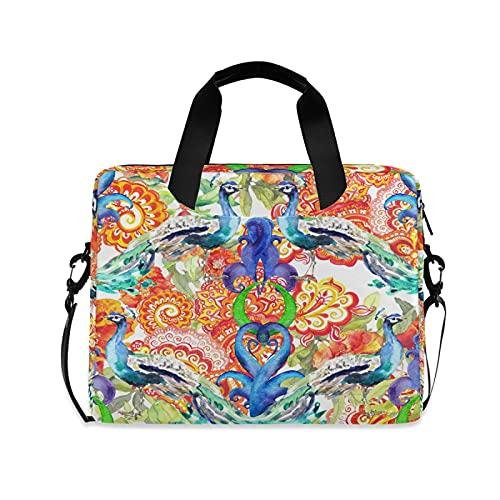 JNlover Peacock Bird Floral Painting Laptop Bag 16 inch, Portable Sleeve Briefcase Laptop Case Notebook Computer Carrying Case Bag for Women Men