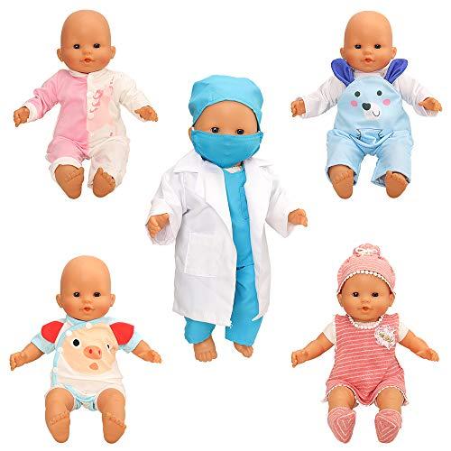 Miunana 5 Set Kleidung Outfit Puppenkleidung Kleider Bekleidung Zubehör für New Born Baby Puppen Baby Puppen 35-46 cm Mädchen Puppen