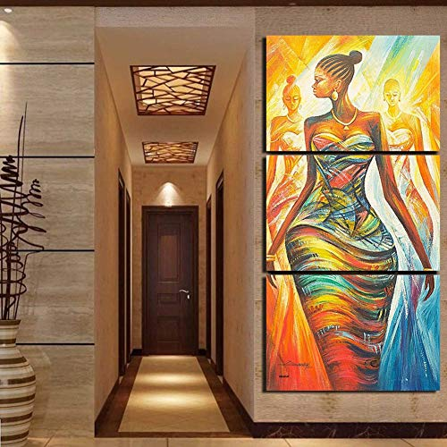 BrawljRORty Wall Stickers Decor Art Decorations 3Pcs Abstract African Women Wall Art Canvas Painting Poster No Frame Room Decor for Home Living Room Bedroom Decor