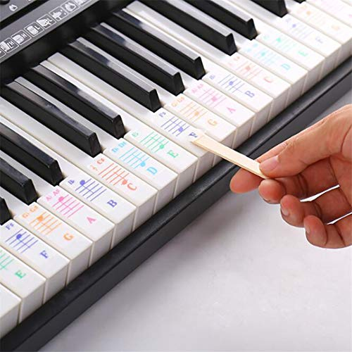 Underleaf Farbe Klavier Tastatur Aufkleber Mehrfarbige, transparente, abnehmbare große Fettdruck Klavier Aufkleber Perfekt für Kinder, die Klavier Lernen