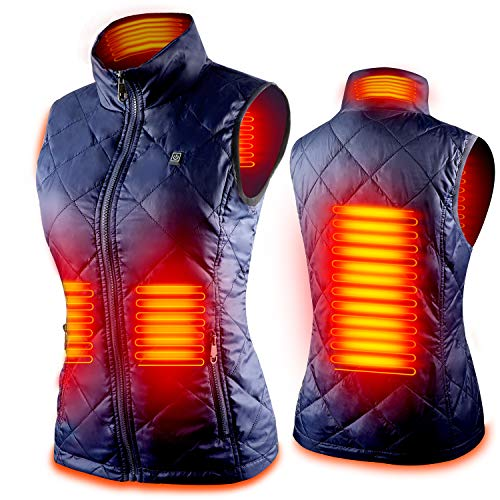 Women s Heated Vest with 3 Heating Levels, 4 Heating Zones,Neck Heating Jacket Washable (Batteries not included)