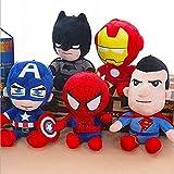 zdfbhkm 5 Peluches de Superman, Peluches de 25 cm de la Alianza de la Resurrección, superhéroe Ice Capitán Super Batman Felpa Suave Felpa Regalo para niños A