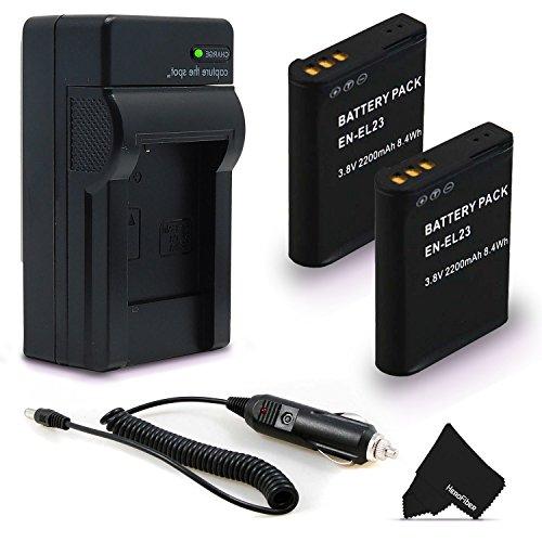 2 High Capacity (Replacement) Nikon EN-EL23 / ENEL23 Batteries + Quick Rapid AC/DC Charger Kit for Nikon Coolpix P900 P610 P600 S810c Digital Cameras