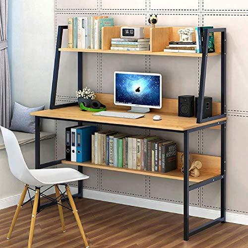 FSXJD Moderno Escritorio Oficina con estantería Mesa de PC Multifuncional Trapezoidal Escritorio Escritura Fácil de instala para casa-120x48x138cm C