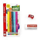 Stabilo Easy 160 Lápices Hb Paquete de 10 + Diestros Easy Sacapuntas + Legacy Borrador