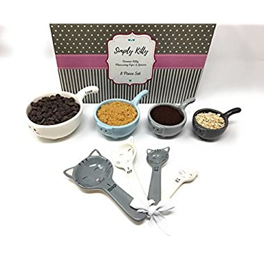 Cat Measuring Cups and Spoons Set by Simply Kitty. These Ceramic Cat Shaped Measuring Cups and Spoons are a Perfect Gift for Any Cat Lover!