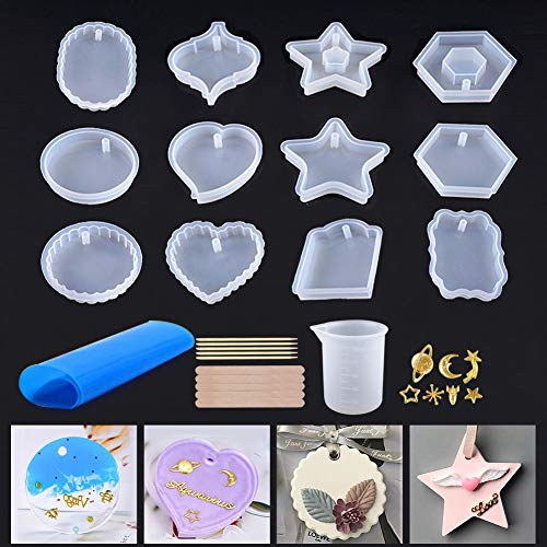 12Pcs Resin Silicone Molds, Epoxy Resin Molds with Hole for Jewelry Pendent, Keychain Craft Making with Star Moon Decorations