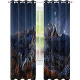 Niños cortinas opacas, Dolomitas Italia Alpes Paisaje de Montaña con Noche Estrellada Cielo Vía Láctea, W52 x L63 Blackout Cortinas de la Ventana/Drapes, Azul Oscuro Redwood Tan