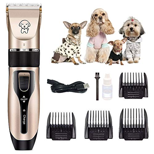 Dog Clipper, Low Noise Electric Pet Clippers Fast Rechargeable Cordless...