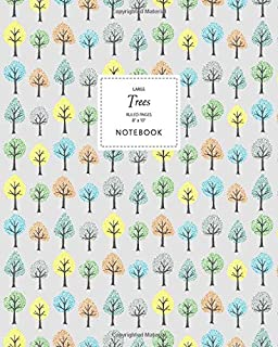 Trees Notebook - Ruled Pages - 8x10 - Large: (Grey Edition) Fun Notebook 192 Ruled/Lined Pages (8x10 inches / 20.3x25.4 cm...