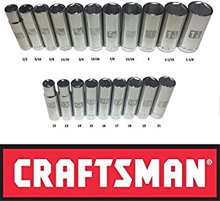Craftsman Laser Etched Easy Read 20 Piece SAE & Metric 1/2