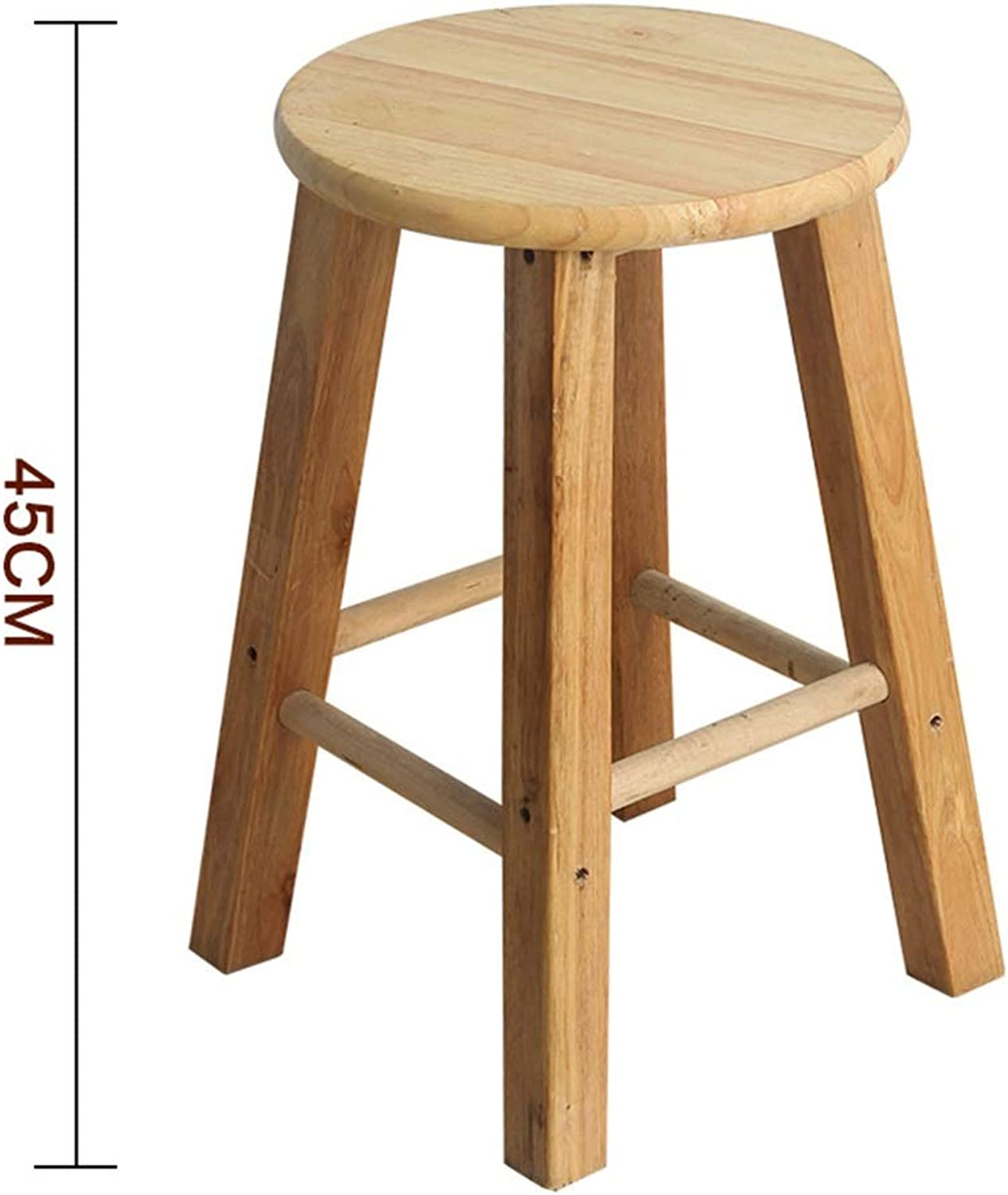 Stool Wooden Bar Stools, Round High Stools, for Counter Café Kitchen Breakfast Pub (Size   45cm)