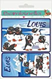 Bambinella® Namensetiketten Klebeetiketten - Motiv: Pinguine - 10cm breit, 7,5cm hoch - Hergestellt in eigener Werkstatt in Deutschland