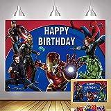 A-vengers - Fondo de superhéroe de Marvel para niños, tema de superhéroe, suministros de decoración de fiesta de cumpleaños para fotomatón (1,5 m x 0,9 m)