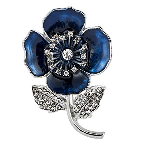babytowns Poppy Flower Brooch Lapel Pin Bule Flower Crystal Diamante Enamel Badges Ribbon Red Flowers for Banquet Legion Remembrance Day Gift (Center Diamond-Blue)