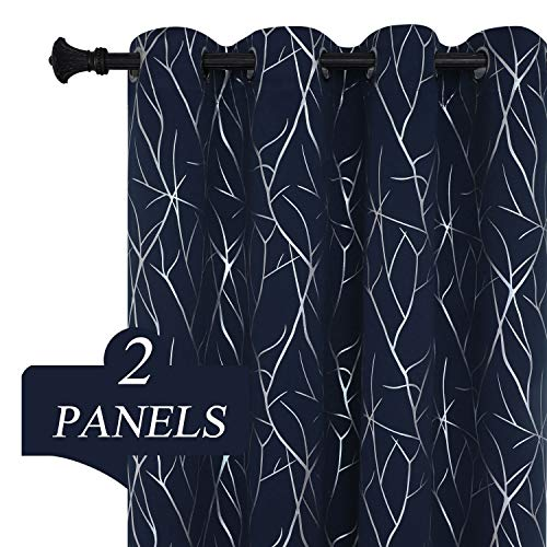 Estelar Textiler Thermal Insulated Blackout Curtains 84 Inches Long with Silver Branches Printed Light Blocking Curtains for Living Room Sliding Door 52W x 84L Navy Blue 2 Panels