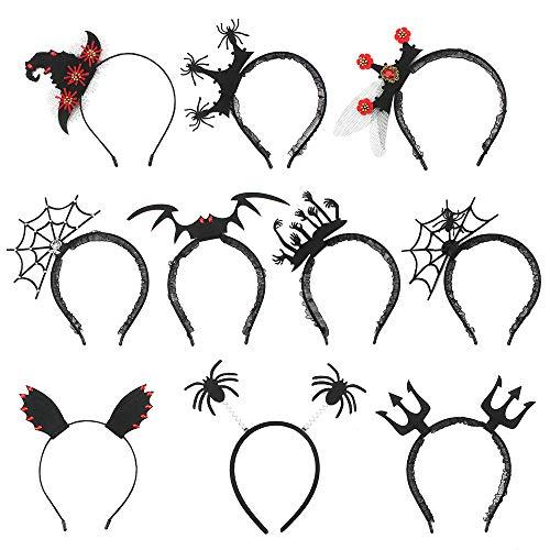 10 Piezas Diadema de Halloween, Cintas de Halloween para la