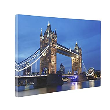 Niwo Art (TM) - 07 London Cityscape Picture On Canvas - Giclee Wall Art for Home Decor, Gallery Wrapped, Stretched and Framed Ready to Hang (16 x12 x3/4 )