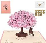 Biglietto pop-up 3D, con bouquet di fiori, biglietto d'auguri per l'amante di Sakura, biglietto di auguri per matrimonio, Natale, compleanno, anniversario, anniversario per moglie, rosa 2