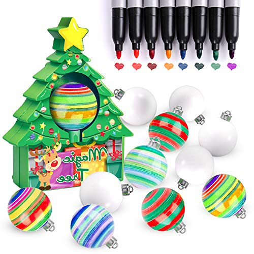 Tsomtto 2020 Christmas Tree Ornament Decorating Kit, 12PCS DIY Painting Ball Spinner Crafts Supplies, Educational Toys Activities, Hottest Gifts for Kids Girls Boys Toddlers Age 2 3 4 5 6 Years Old