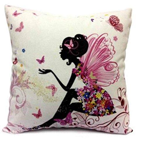 EPRHY - Funda de cojín de Lino y algodón, diseño de niña con alitas Rosas y Mariposas, Cuadrada, 45,7 x 45,7 cm