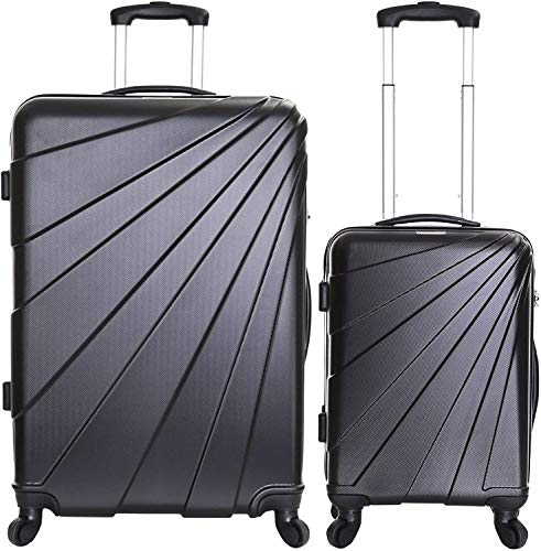 Luggage, with Integrated Lock, 2 Bags,Noir