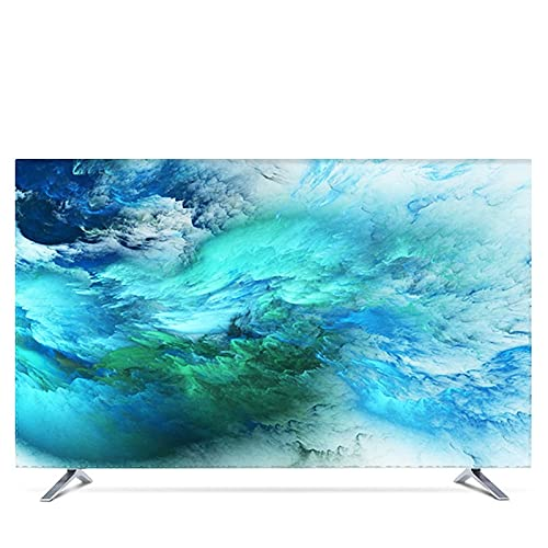 WENYOG Funda TV Exterior Personalizado 19'- 80' Cubierta de Capucha Decorativa de 22 Pulgadas de 75 Pulgadas para TV de Pantalla PC Nebula Universo Impermeable púrpura Azul Verde