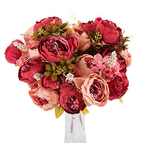 San Bodhi® 1 Bouquet 13 Têtes artificielle Pivoine Fleur en soie pour décoration de table bouquets de mariage rose foncé