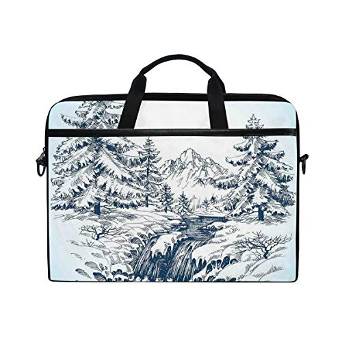 FOURFOOL 15-15.6 inch Laptop Bag,Snow Winter Landscape Pine Forest River Flowing The Mountains Blizzard,New Canvas Print Pattern Briefcase Laptop Shoulder Messenger Handbag Case Sleeve