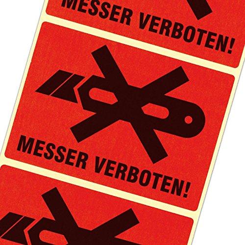 1000 Etiketten Messer verboten/kein Cutter Haftpapier 105 x 72 mm leuchtend rot