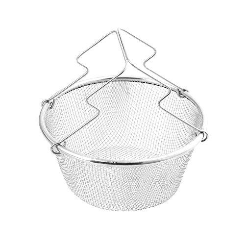 Fry Cesta plegable multifunción de acero inoxidable, cesta de acero inoxidable, colador plegable de acero inoxidable para freír, vaporizar, entrenamiento, enjuague, frutas y verduras