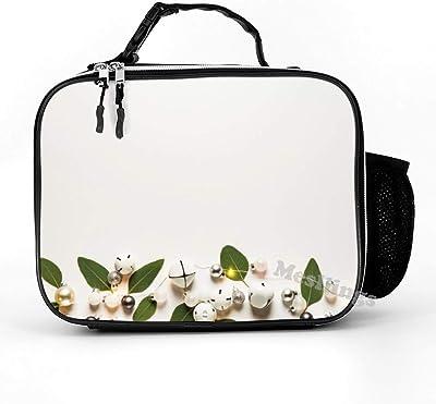 Mesllings - Fiambrera de piel desmontable con diseño de bolas blancas y campanas de trineo para niños, adultos y niños