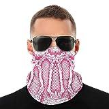 best& Texture Rosa Bianco Serpente Sciarpa facciale Passamontagna Casual Copricapo Fasce Elastiche Bandana estensibili Protezione da Vento/Sole/UV