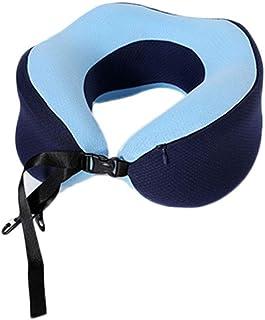 Travel Pillows Memory Cotton U-Shaped Pillow Multi-Function Portable Travel Pillow U-Shaped Pillow Office Nap Pillow Foldable (Color : Blue, Size : 27 * 28cm)