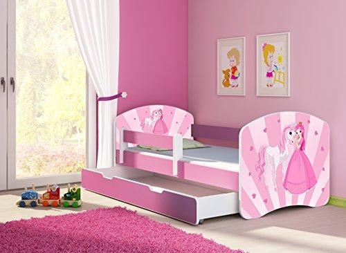 Clamaro \'Fantasia Pink\' 160 x 80 Kinderbett Set inkl. Matratze, Lattenrost und mit Bettkasten Schublade, mit verstellbarem Rausfallschutz und Kantenschutzleisten, Design: 08 Prinzessin Einhorn