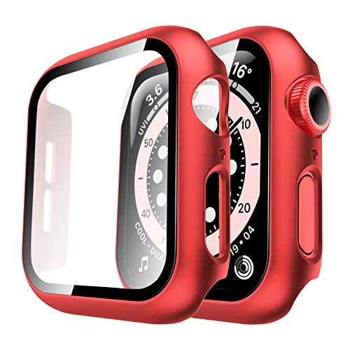 Tauri 2 Pack Case Built-in Tempered Glass Screen Protector for Apple Watch SE 40mm Series 6/5/Series 4, iWatch 40mm Glass Screen Protector Cover, Hard Bumper, Full Protection - Red
