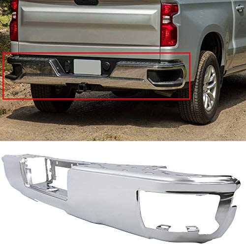 New Step Bumper Silver Rear Replacement Face Bar Chrome Compatible for Chevy Silverado 1500 GM1102558 23108142
