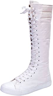 Women's Sneakers Punk Knee High Costumes Lace up Canvas Boots