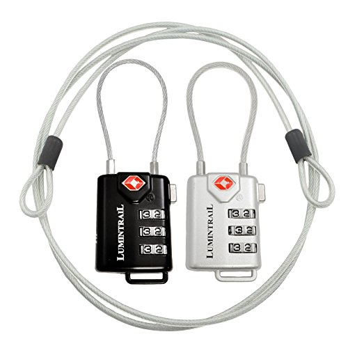 Lumintrail TSA Approved Luggage Locks with 4 Foot Steel Cables Lumintrail Combination Travel Security Lock, 2 Pack (Black and Silver)